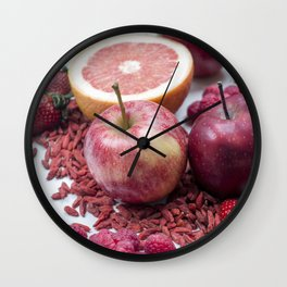 A variety of red fruits Wall Clock