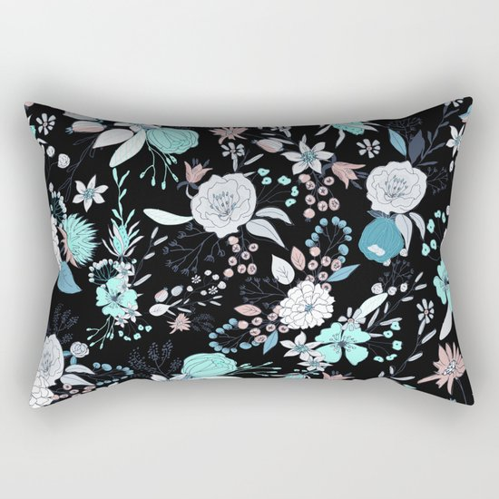 Modern Floral Pillows : Abstract teal white black country modern floral Rectangular Pillow by Pink Water Society6