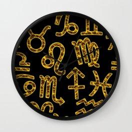 Zodiac signs seamless pattern. Horoscope symbols. Astrology background Wall Clock