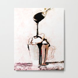 Hot Fudge Sundae Sweet Rich Dessert Metal Print