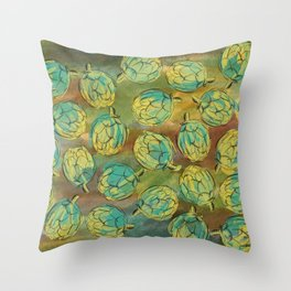 Artichokes on Green and Brown Background Throw Pillow