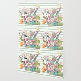 Watercolor cactus, floral and stripes design Wallpaper