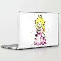 princess peach Laptop & iPad Skins featuring Princess Peach by Olechka