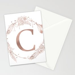 Letter C Rose Gold Pink Initial Monogram Stationery Cards