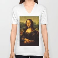 mona lisa V-neck T-shirts featuring Mona Lisa by steinhauer studio