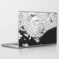 singapore Laptop & iPad Skins featuring Singapore Map Gray by City Art Posters