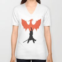 dragon age inquisition V-neck T-shirts featuring Dragon Age: Inquisition V1 by FelixT