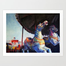 Colorful Galloping Horses Art Print