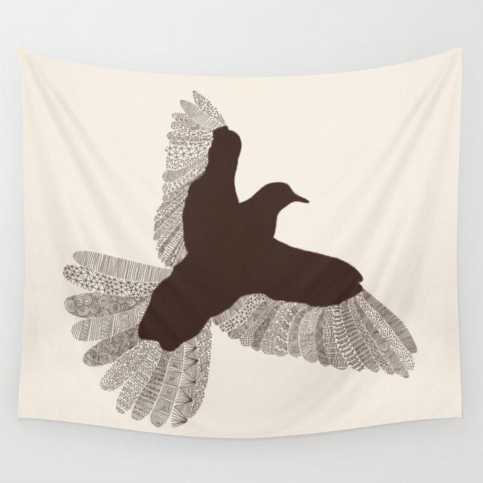 Bird (On Beige) Wandbehang