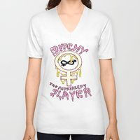 buffy V-neck T-shirts featuring Buffy Spin-off  by TheFrizzKid