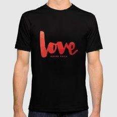 Love Never Fails Black MEDIUM Mens Fitted Tee
