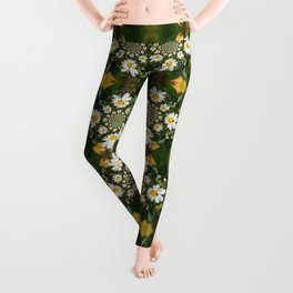 Magic Field Summer Grass - Chamomile Flower with Bug - Polarity #1 Leggings
