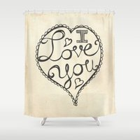 onesie Shower Curtains featuring I Love You Sketch by Heather Dutton