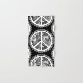 Zen Doodle Peace Symbol Black And White Hand & Bath Towel