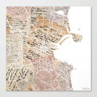 dublin Canvas Prints featuring Dublin by Mapsland