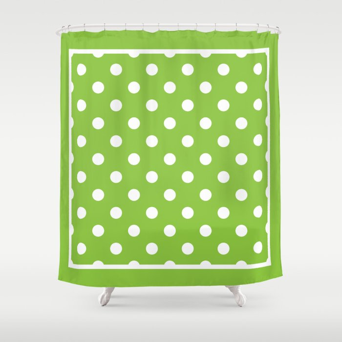 Lime Green Polka Dots Palm Beach Preppy Shower Curtain By