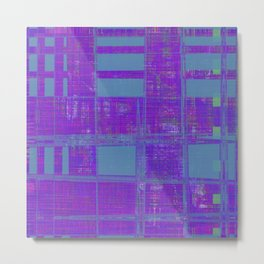Weird looking teal squares on tile and purple background Metal Print
