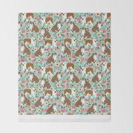 Bulldog spring florals mint pastel cute pet portrait dog lover dog art gifts for english bulldog  Throw Blanket