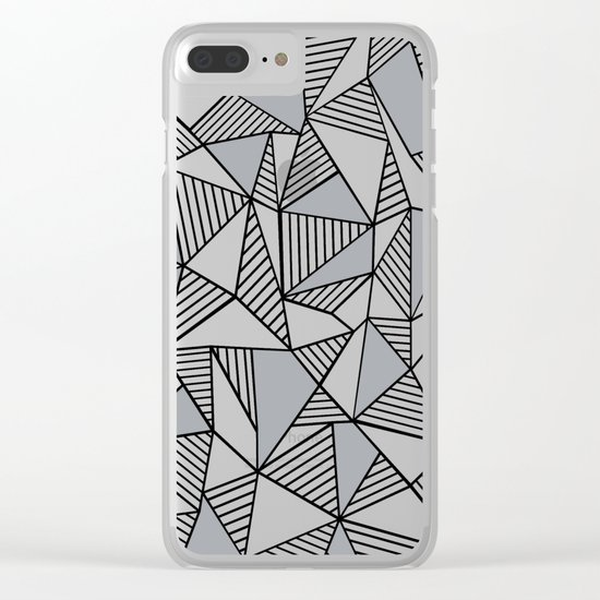 Abstract Lines With Grey Blocks Clear iPhone Case