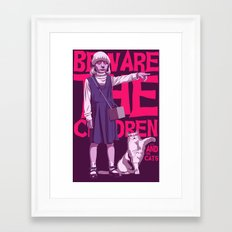 Beware the children...and the cats Framed Art Print