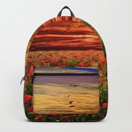 Red Poppy Meadows | Oil Painting Backpack