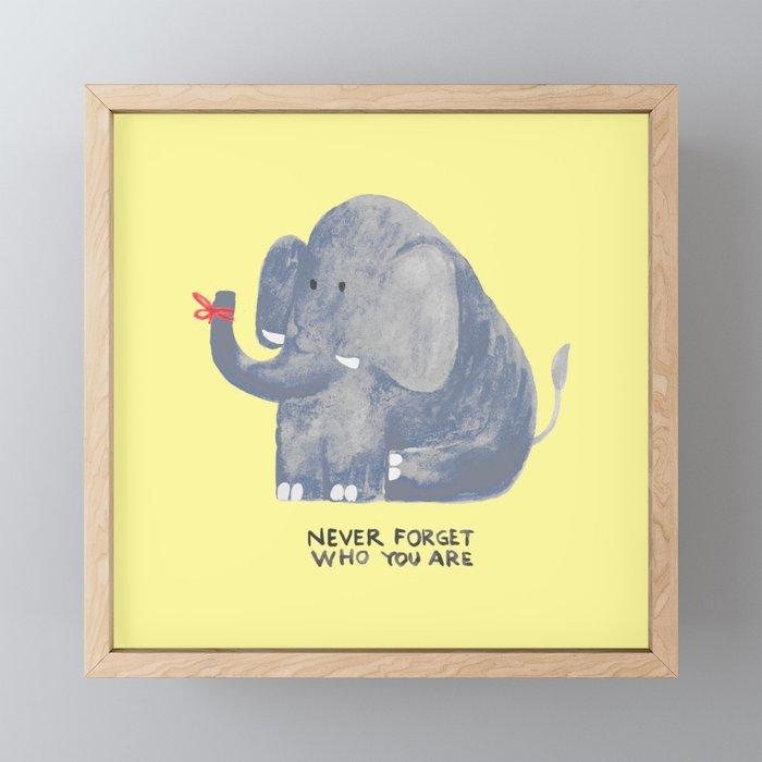 Elephant never forgets Framed Mini Art Print