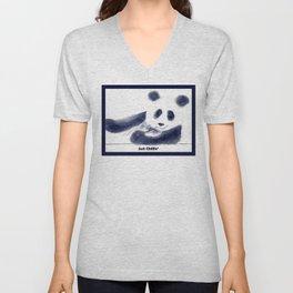 Just Chillin' Whimsical Panda Bear Design Unisex V-Neck