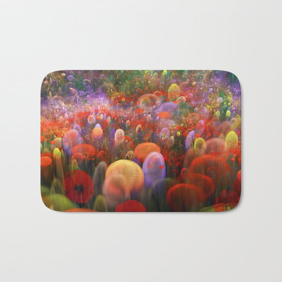 Dreamscape with poppies and orbs Bath Mat