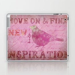 Move on pink Inspirational Typography and Bird Collage Laptop & iPad Skin
