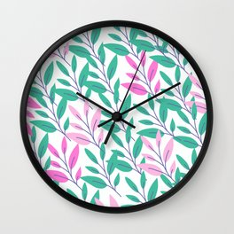 Green and pink leaves print Wall Clock