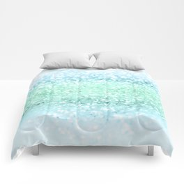 Aqua Seafoam Ocean Glitter #1 #shiny #pastel #decor #art #society6 Comforters