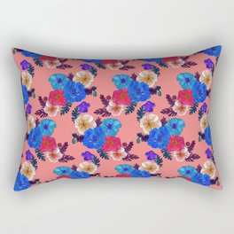 Iceland Poppies Floral Pattern - Peach Fuzz Background Rectangular Pillow