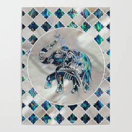 Silver Framed Elephant on Abalone and Pearl Poster