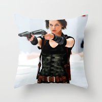 resident evil Throw Pillows featuring Milla Jovovich @ Resident Evil by Gabriel T Toro
