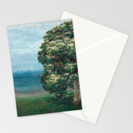 Flowering Chestnut Trees by the Sea landscape painting by Emilie Mediz Pelikan Stationery Cards