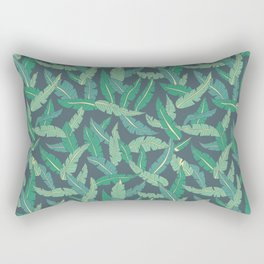 Green tropical plant leaves on dark background Rectangular Pillow