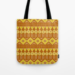Mudcloth Style 2 in Burnt Orange and Yellow Tote Bag