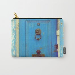 Old blue wooden door with worn out paint   Number 13   Lion door knocker Carry-All Pouch