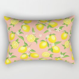 You're the Zest - Lemons on Pink Rectangular Pillow