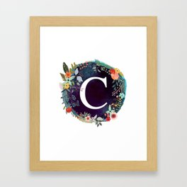 Personalized Monogram Initial Letter C Floral Wreath Artwork Framed Art Print