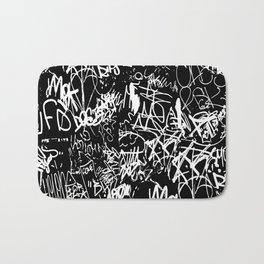 Black and White Graffiti Abstract Collage Print Pattern Bath Mat