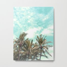 Wild and Free Vintage Palm Trees - Kaki and Turquoise Metal Print