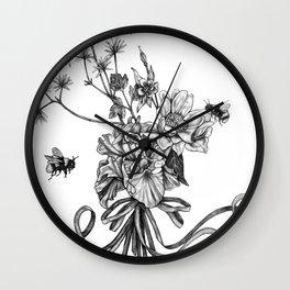 Bumble Bee drawing - Pollinators 1 Wall Clock