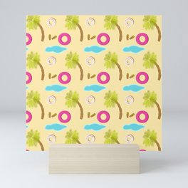 Beach design pattern with palm tree Mini Art Print