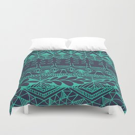 Mountain Tapestry in Midnight Teal Duvet Cover