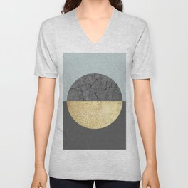 Marble and gold circle Unisex V-Neck