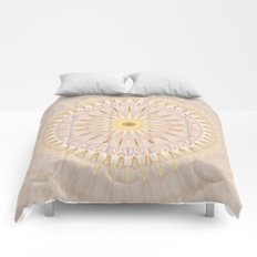 Beige Gold Mandala Medallion Comforters