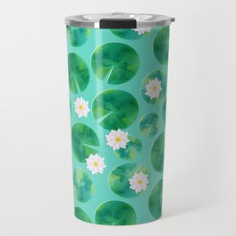 Lily Pads & White Water Lily Flowers Travel Mug
