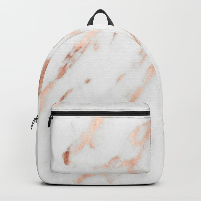 Pink Quartz Marble Rose Gold White Backpack
