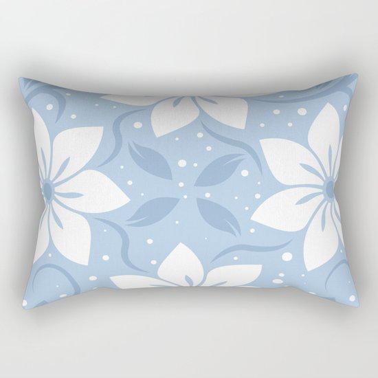 Magical Blue Flower Pattern Rectangular Pillow
